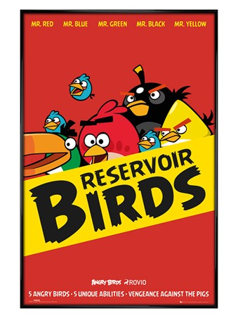 Gloss Black Framed Reservoir Birds - Angry Birds