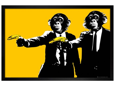Black Wooden Framed Hands Up! - Monkeys With Bananas