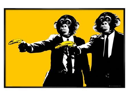 Gloss Black Framed Hands Up! - Monkeys With Bananas