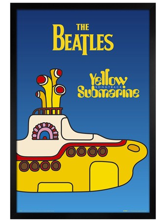 Black Wooden Framed Yellow Submarine - The Beatles