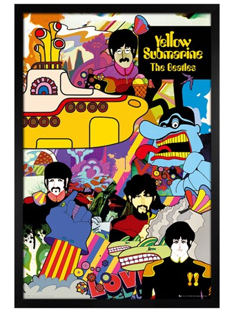 Black Wooden Framed Yellow Submarine Collage - The Beatles