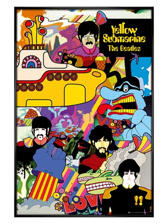 Gloss Black Framed Yellow Submarine Collage - The Beatles