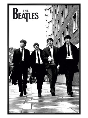 Gloss Black Framed Beatles In London, Black and White Photo - The Beatles
