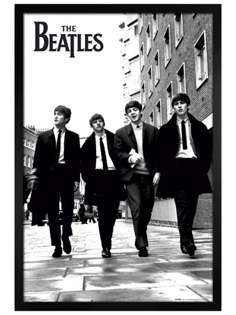 Black Wooden Framed Beatles In London, Black and White Photo Framed Poster