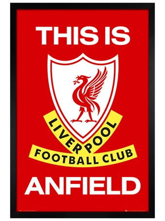 Black Wooden Framed This is Anfield, Liverpool Football Club badge