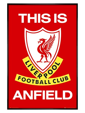Gloss Black Framed This is Anfield, Liverpool Football Club Badge