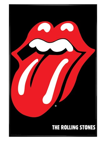 Gloss Black Framed Tongue Logo - The Rolling Stones