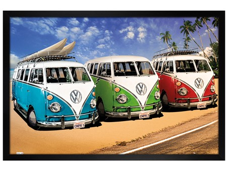 Black Wooden Framed Camper Van Trio On The Shoreline, Volkswagens On The Beach