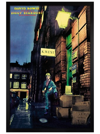 Black Wooden Framed Ziggy Stardust Album Cover - David Bowie