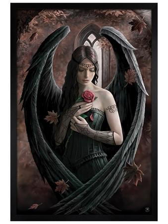 Black Wooden Framed Angel Rose - Anne Stokes
