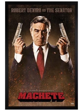 Black Wooden Framed Robert De Niro is The Senator - Machete