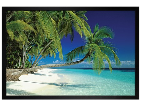 Black Wooden Framed Maldives Beach and Sea - Palm Trees on a Tropical Island Paradise