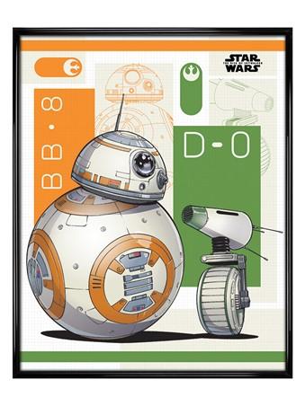 Gloss Black Framed The Rise Of Skywalker BB8 and D-0 - Star Wars