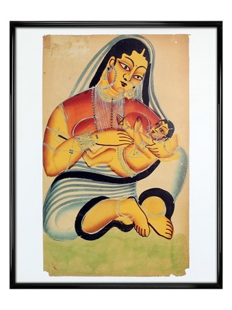 Gloss Black Framed Mother and Child - Painting From Kalighat