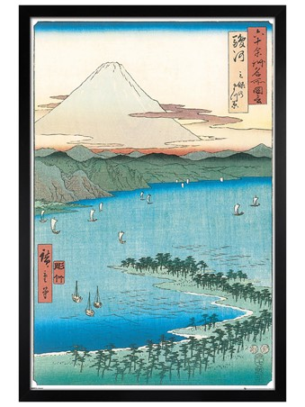 Black Wooden Framed The Pine Beach at Miho Framed Poster
