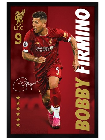 Black Wooden Framed Bobby Firmino, Liverpool FC