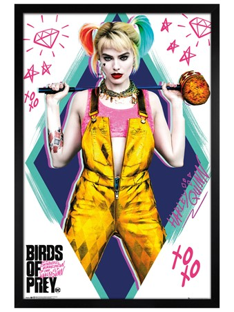 Black Wooden Framed Birds of Prey - Harley Quinn