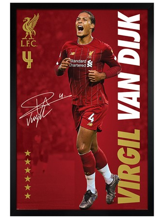 Black Wooden Framed Virgil Van Dijk, Liverpool FC