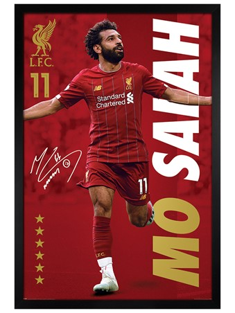 Black Wooden Framed Mo Salah, Liverpool FC