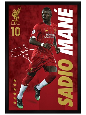 Black Wooden Framed Sadio Mane Framed Poster
