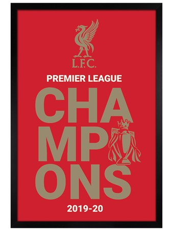 Black Wooden Framed Champions 2019/20 Logo, Liverpool FC