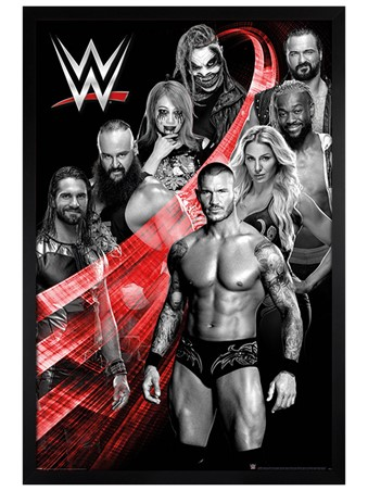 Black Wooden Framed Swoosh, WWE Superstars
