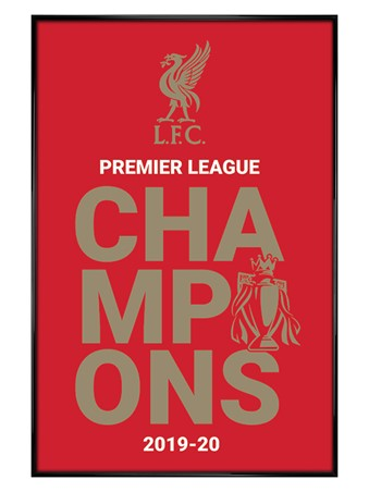 Gloss Black Framed Champions 2019/20 Logo, Liverpool FC