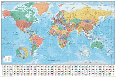 Continents, Countries, and Flags, World Map