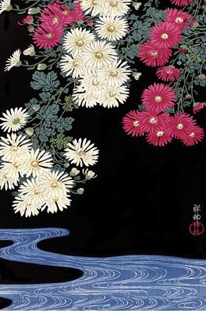 Chrysanthemum and Running Water, Ohara Koson