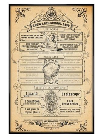 Hogwarts List Framed Poster