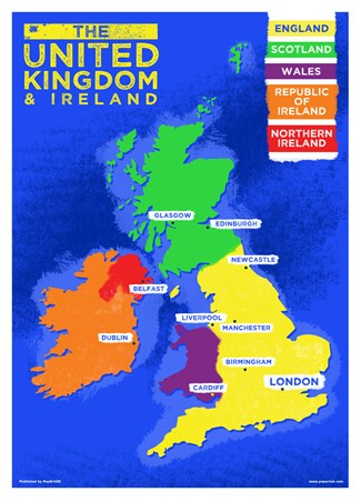 UK & Ireland Country Map - Colourful Countries