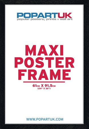 61x91.5cm Satin Black Wooden Poster Frame - Suitable for Regular Posters