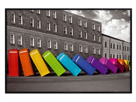 Gloss Black Framed Mulitcoloured Falling Phoneboxes - British Photography