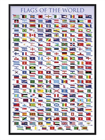 Gloss Black Framed Flags of the World -