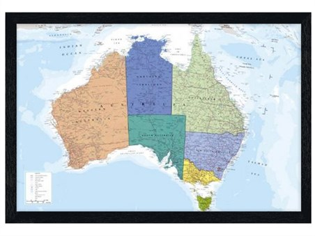 Black Wooden Framed The World's Smallest Continent - Map Of Australia