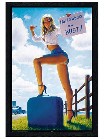 Black Wooden Framed Hollywood or Bust Framed Poster