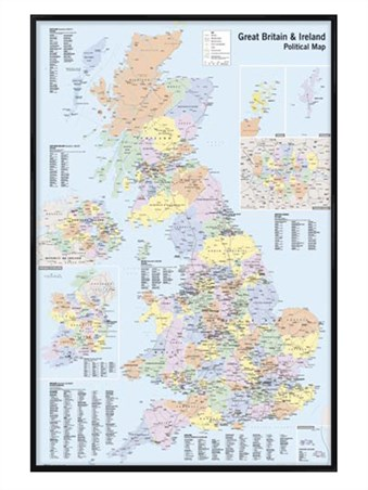 Gloss Black Framed Map Of The UK & Ireland - UK & Ireland