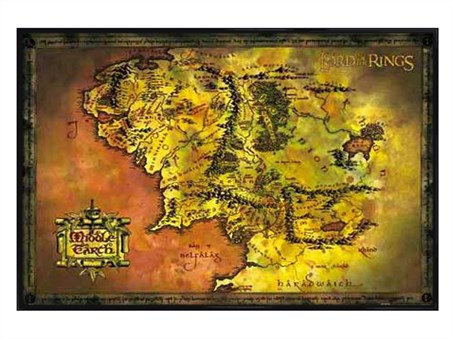 Gloss Black Framed Map Of Middle Earth - Lord of the Rings