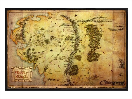 Gloss Black Framed Map of Middle Earth - The Hobbit