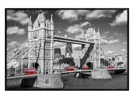 Gloss black framed traffic on tower bridge images of london framed poster