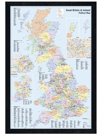 Black Wooden Framed UK & Ireland Framed Poster