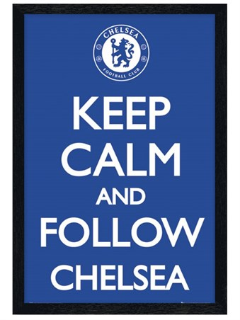 Black Wooden Framed Keep Calm and Follow Chelsea - Chelsea Football Club