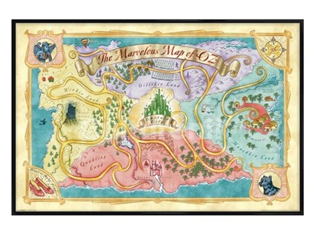 gloss black framed marvelous map of oz the wizard of oz. Black Bedroom Furniture Sets. Home Design Ideas
