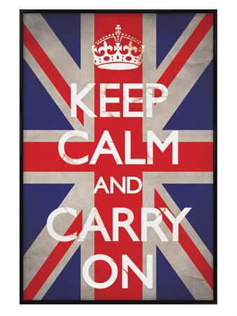 Gloss Black Framed Keep Calm Union Jack - Keep Calm and Carry On