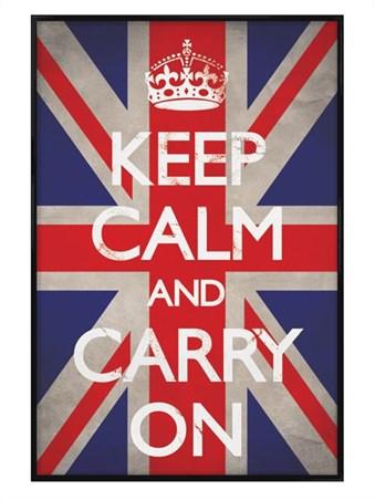Framed Gloss Black Framed Keep Calm Union Jack - Keep Calm and Carry On