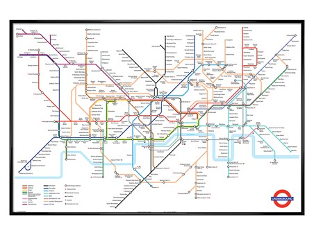 Gloss Black Framed Tube Map, London Undergound