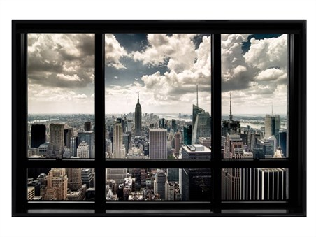 Gloss Black Framed New York View - New York City