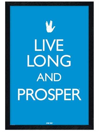 Black Wooden Framed Live Long & Prosper - Star Trek
