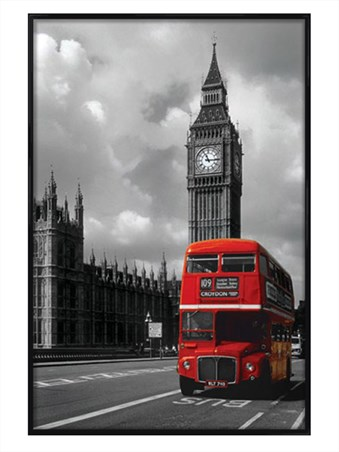 Gloss Black Framed Red Double Decker Bus - London Photography