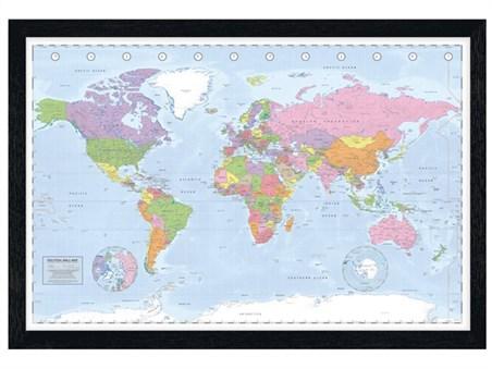 Black Wooden Framed Political World Map - Miller Projection
